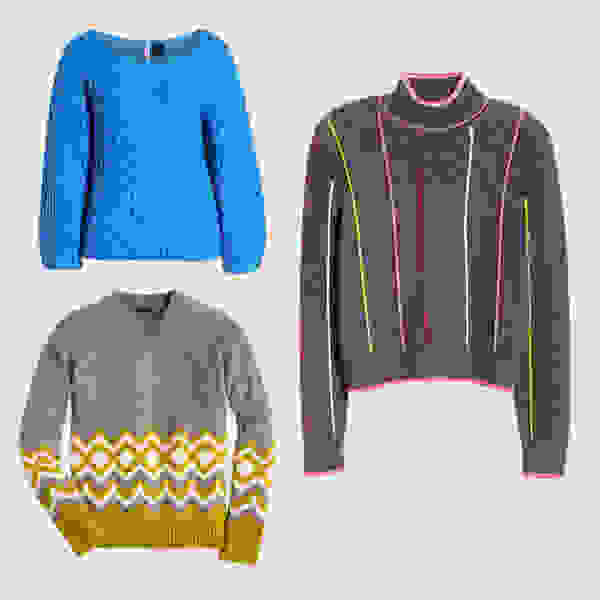 Colorful statement sweaters.