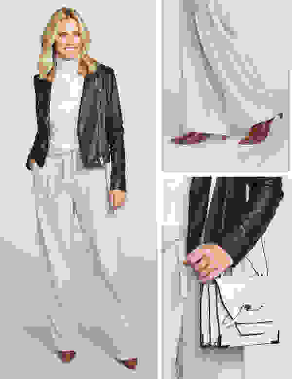 Women's wide-leg pants and leather jacket outfit