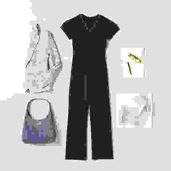 Women's blazer and jumpsuit outfit