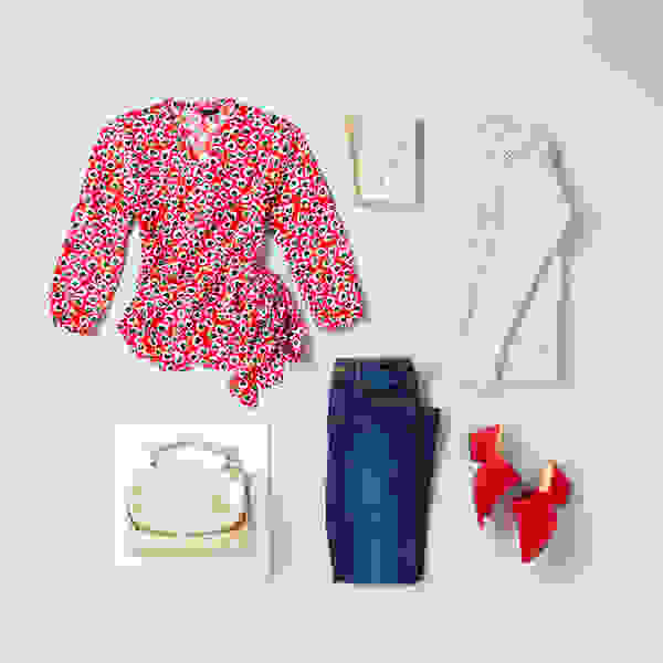 Women's red blouse and jeans outfit