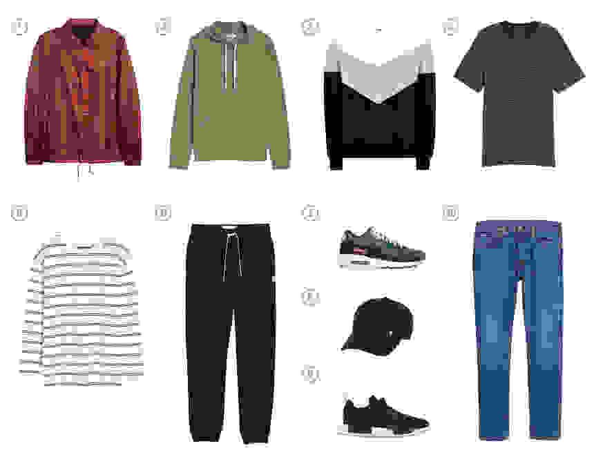 Men's capsule wardrobe with ten items of sport forward menswear.