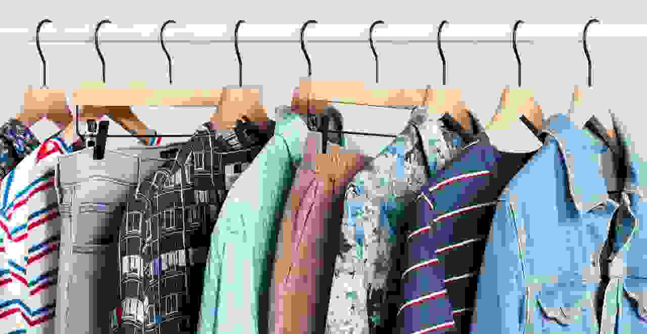 90s-inspired men's clothes on hangers
