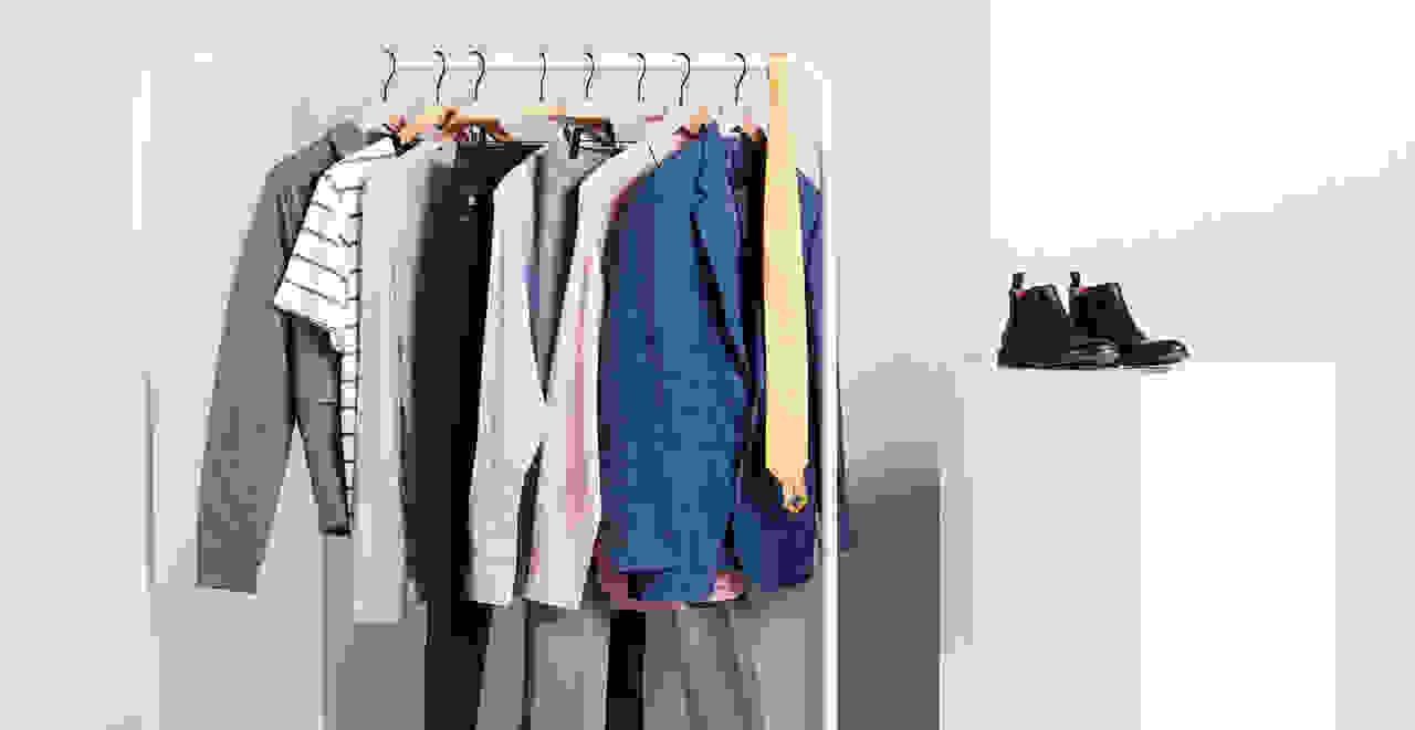 Rack of men's summer and fall outfits