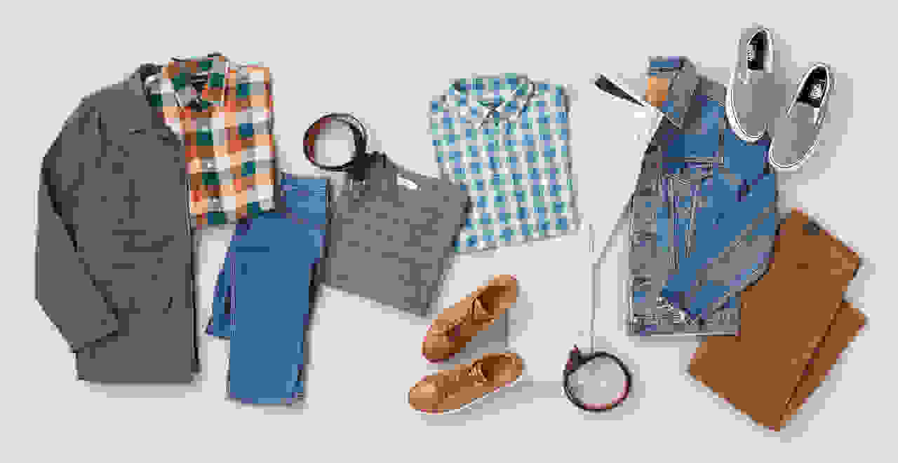 Men's jackets, jeans, sweater, button-down shirt, and sneakers