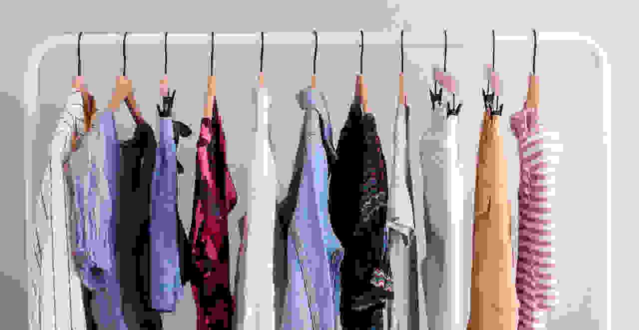 Sustainable clothing on rack