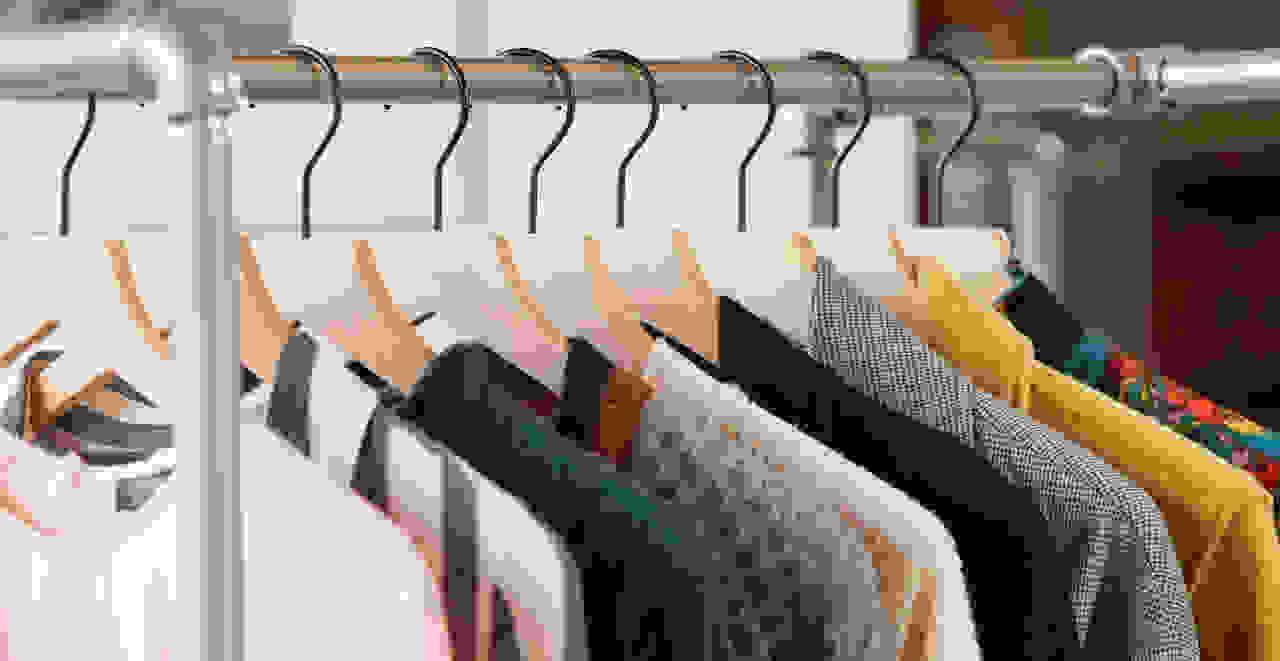 women's shirts on a shirt rack