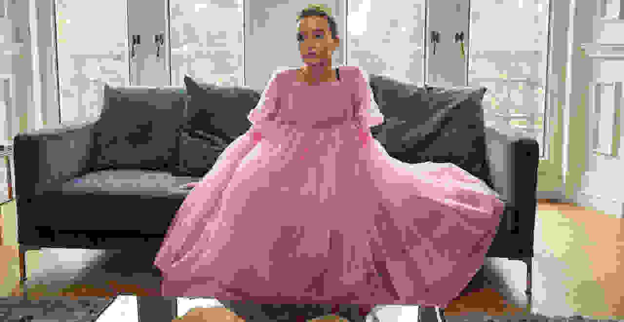 "Jodie Comer wearing a pink dress as Villanelle in ""Killing Eve"""
