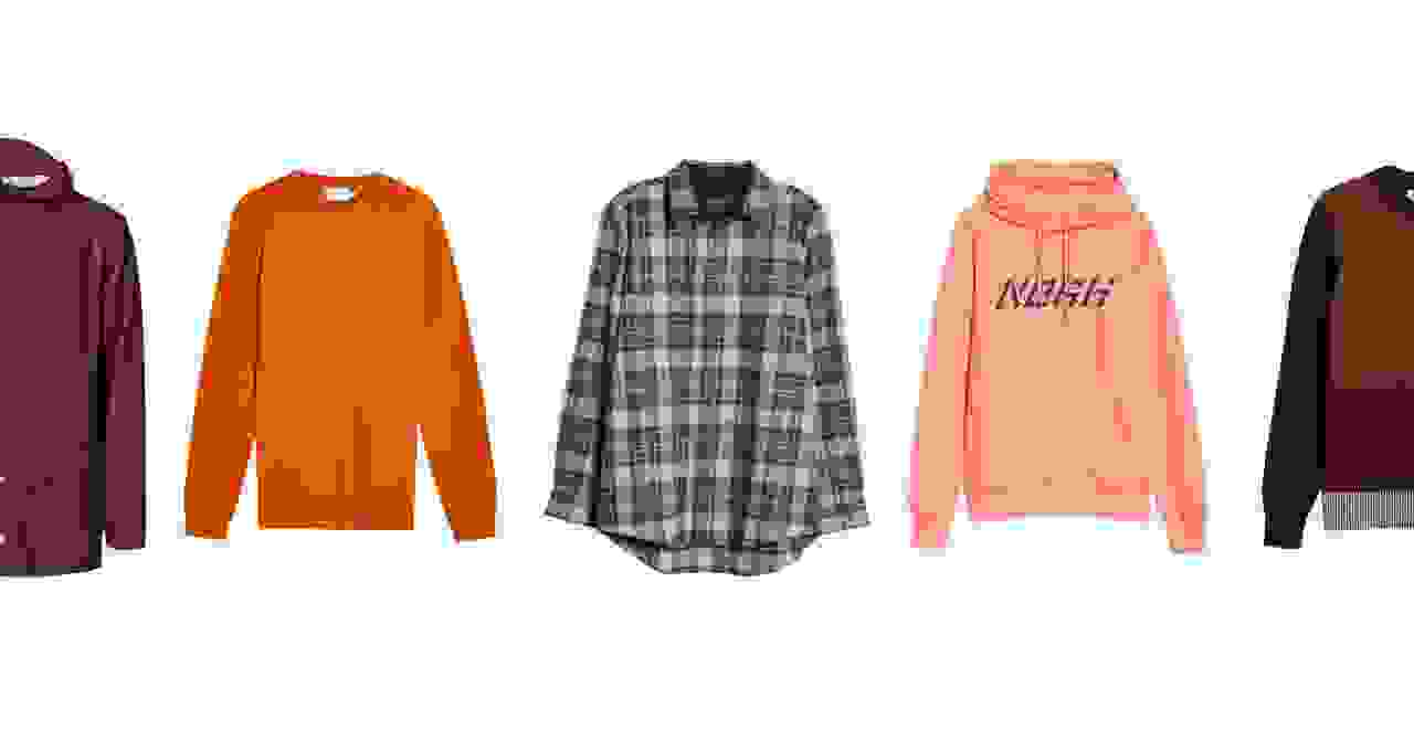 Mens red coat, orange sweatshirt, flannel shirt, orange hoodie and red sweatshirt