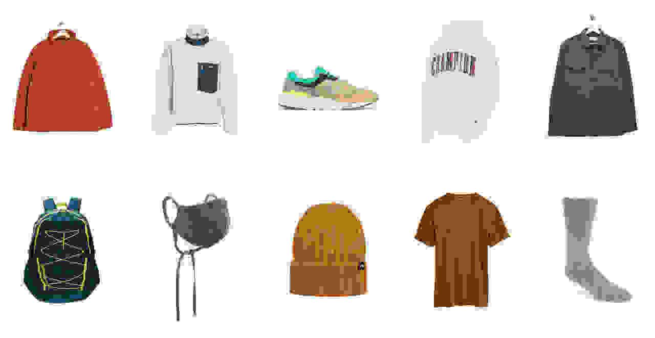 Men's orange jacket, tan sweatshirt, running shoes, champion sweatshirt, green jacket, backpack, protective face mask, orange beanie, orange t-shirt, grey sock,