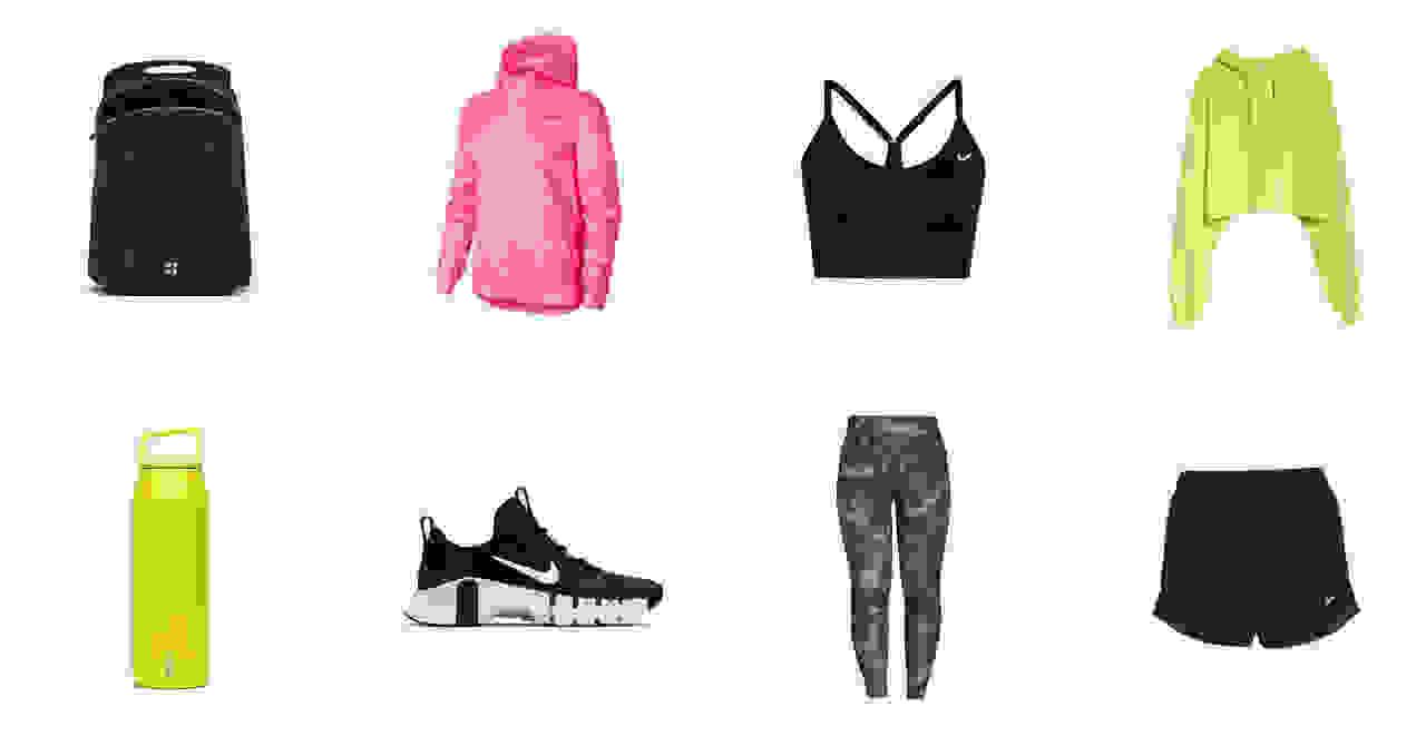 Black backpack, pink jacket, black sports bra, green womens sweatshirt, green water bottle, black sneaker, patterned leggings, black running shorts