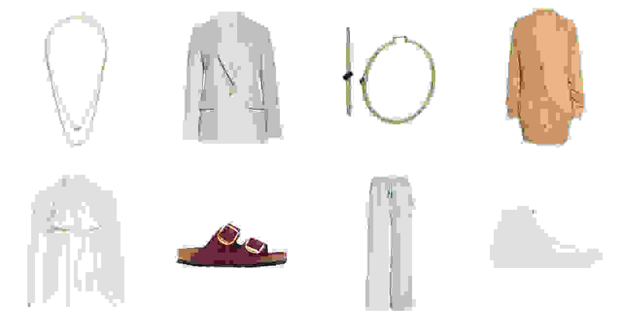 gold necklace, tan blazer, gold bracelet, tan cardigan, cream blouse, red birkenstocks, mint sweatpants, white high-top sneakers