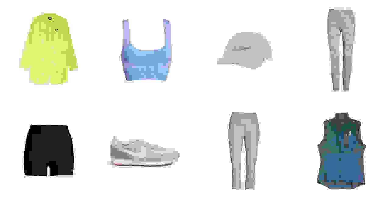 A women's jacket, sports bra, hat, leggings, shorts, sneakers, cropped leggings and vest, chosen by a Trunk Club stylist.