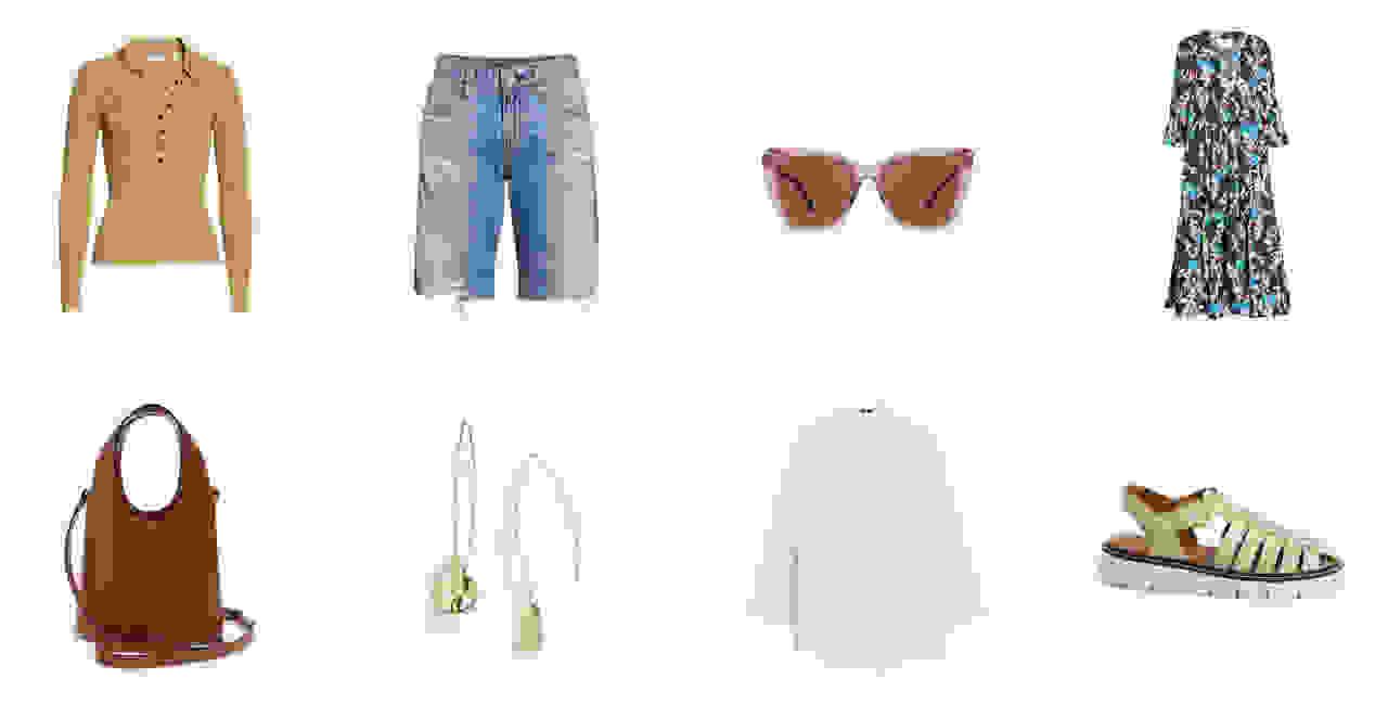 A women's sweater, denim shorts, sunglasses, dress, handbag, earrings, blouse and sandals.
