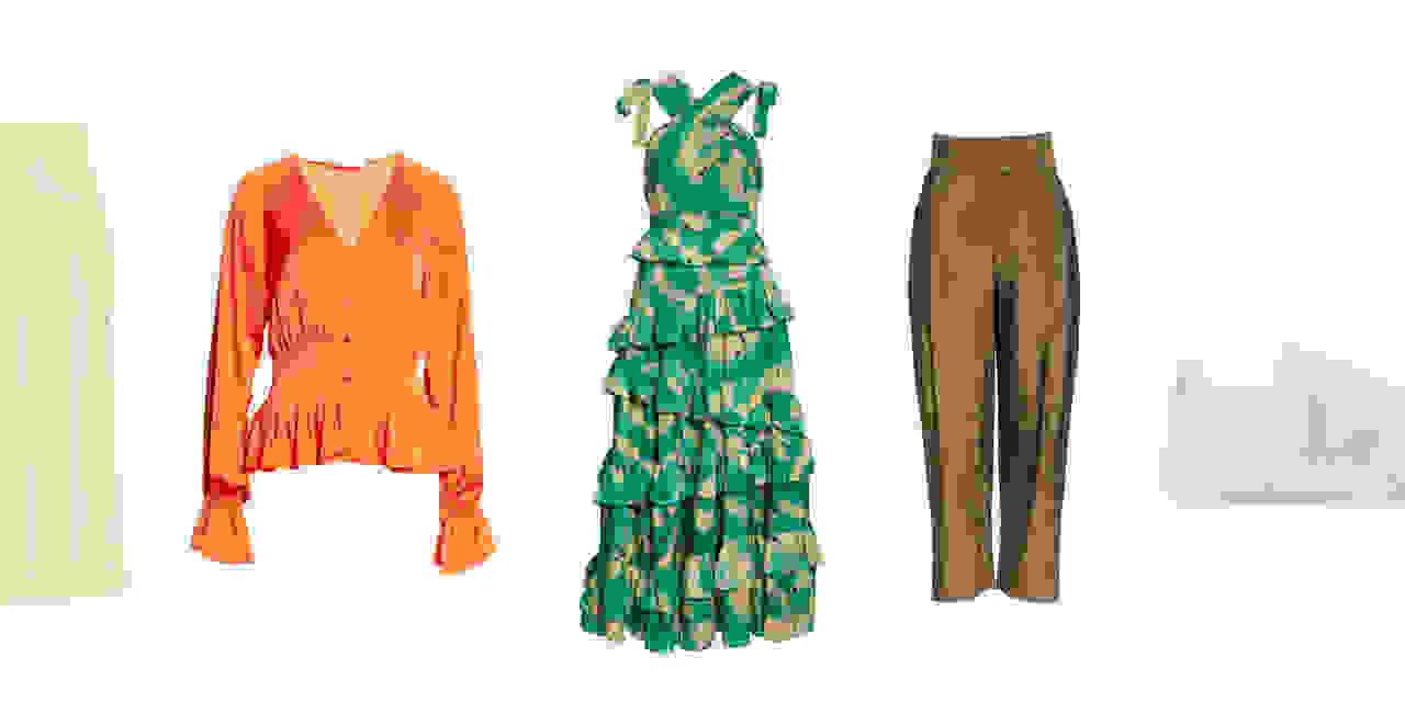 An assortment of women's clothing including a yellow skirt, orange blouse, green dress, brown pants and white sneakers.