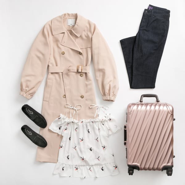 Women's denim and trench coat outfit