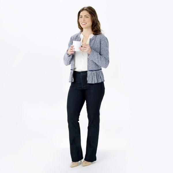 Women's Dark Denim and tweed jacket outfit
