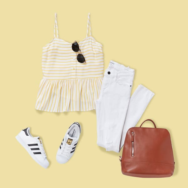 Peplum tank top with white jeans and sneakers