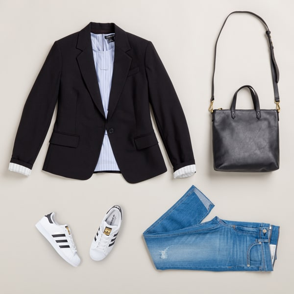 Pair a blazer with jeans and sneakers