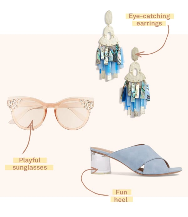 Women's lucite sunglasses, earrings and heeled bootie