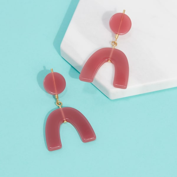 Bright red statement earrings for women