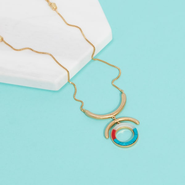Gold, turquoise, red, and white long necklace
