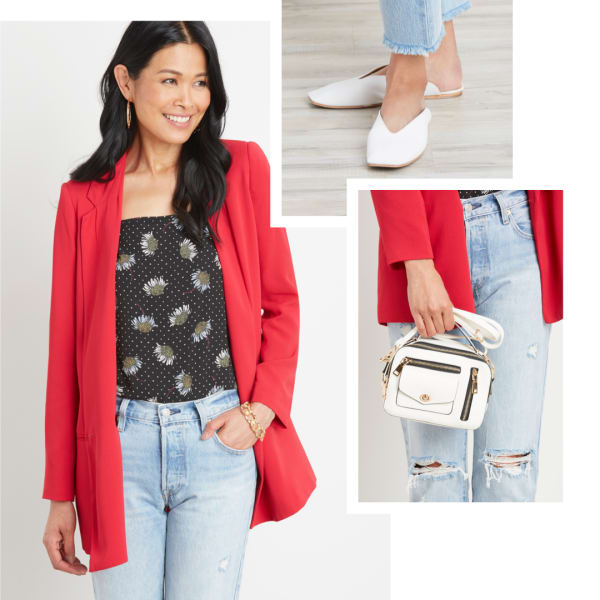 A red blazer with denim.