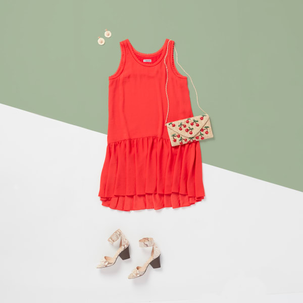 Red Dress with cherry embroidered clutch for girl's night out