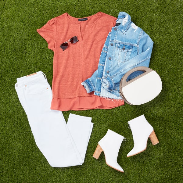 Coral top with white jeans