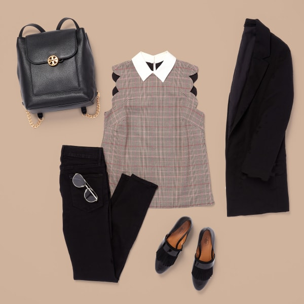 Classic black blazer and collared blouse for fall