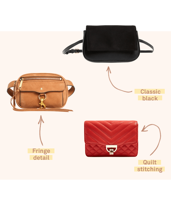 Three women's belt bags - a red quilt stitched clutch, a class black bag and a brown bag featuring fringe - on a light pink background.