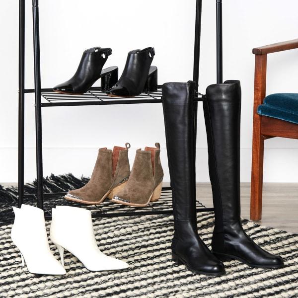 Booties in different heel heights, textures, and prints