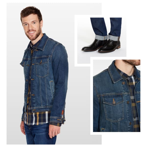 Denim jacket with plaid shirt and jeans.