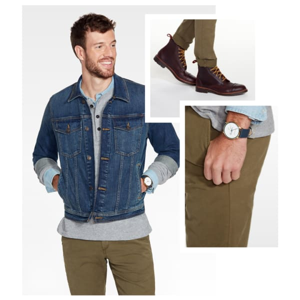 Denim jacket with a henley and khakis.