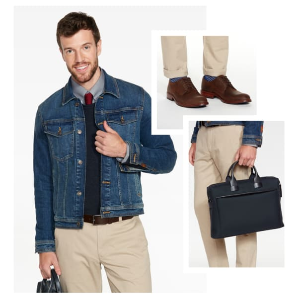 Denim jacket with sweater and tie.