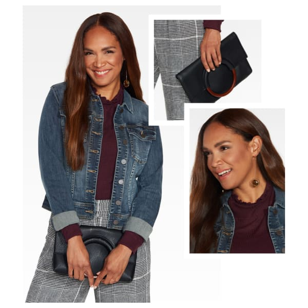 Denim jacket with maroon blouse and grey trousers.