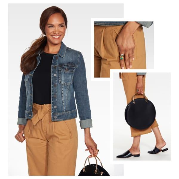 Denim jacket with black shirt and tan pants.