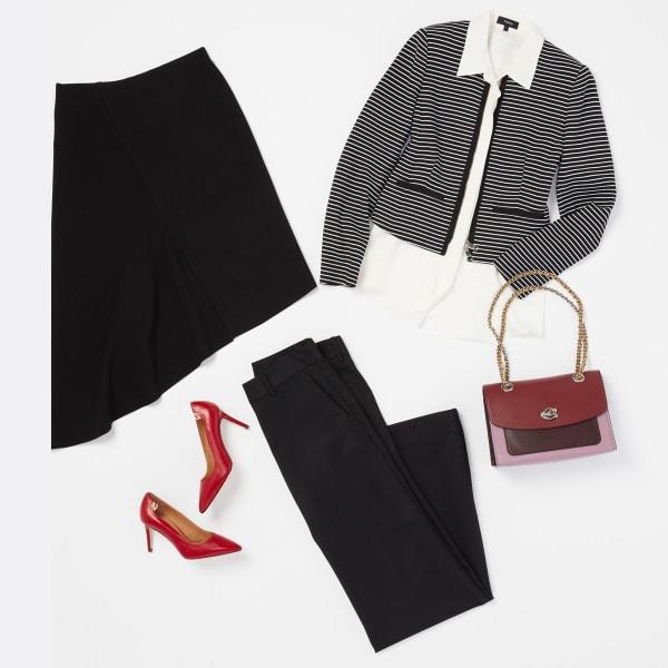 Add colorful accessories to a black blazer and slacks