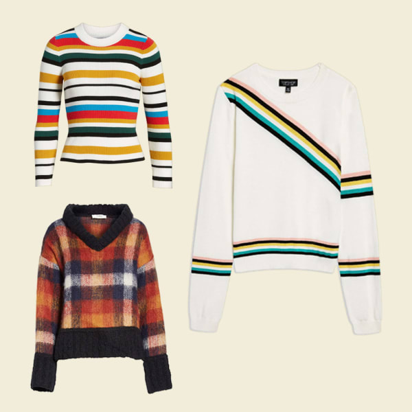 Plaid patterned, heavy sweater. White, colored striped sweater.
