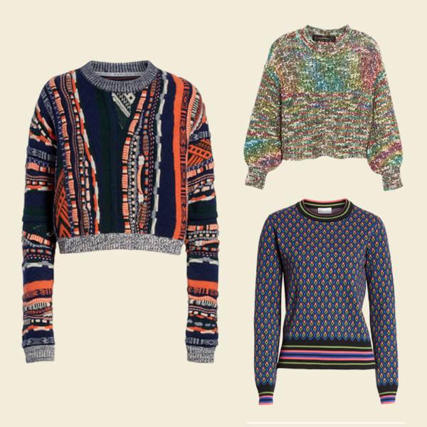 Multi-colored cable sweater. Multi-colored pattern sweater.