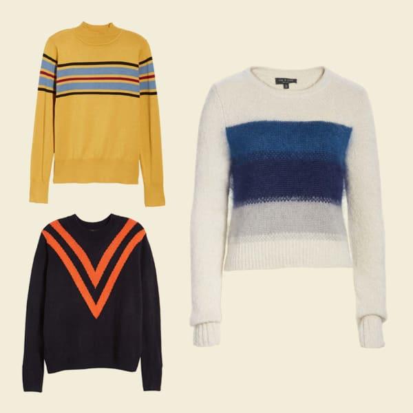 Black sweater with orange chevron pattern. Mustard sweater with teal stripes. White sweater with blue stripes.