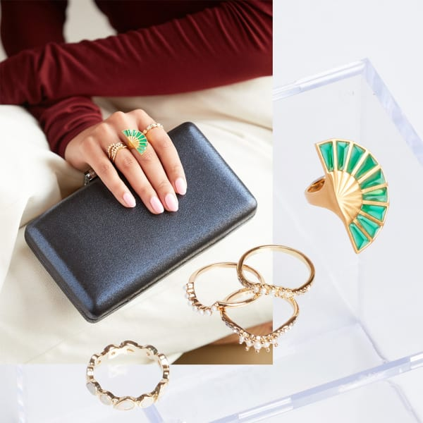 Cocktail rings in different sizes, shapes, and metals