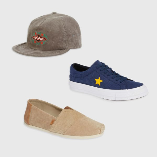Corduroy shoes and hat for men