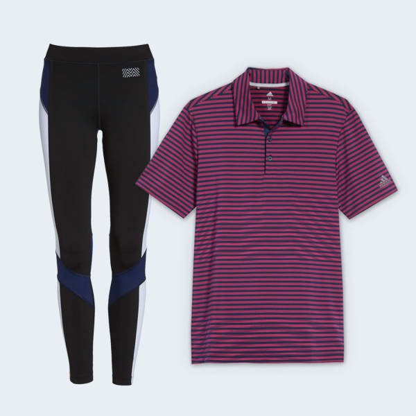 Leggings and polo shirt with UPF