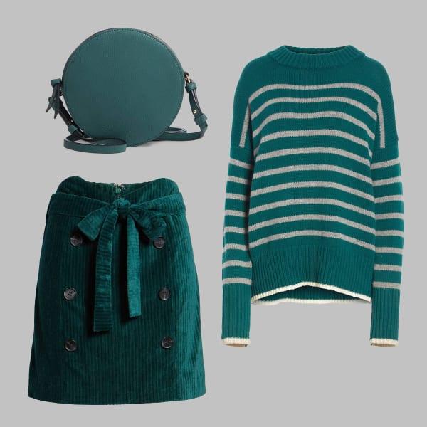 Teal sweater, velour skirt, mini bag