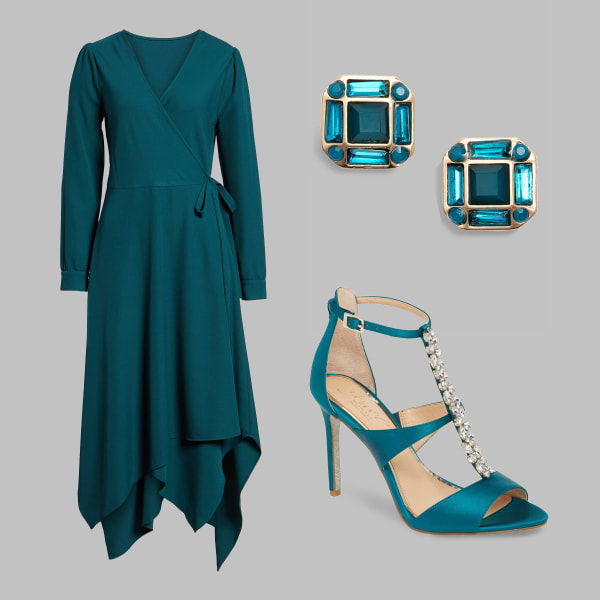 Teal wrap dress, jeweled heels, and earrings
