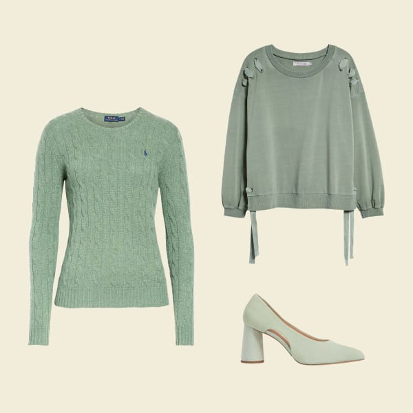 Three pastel women's garments in mint.
