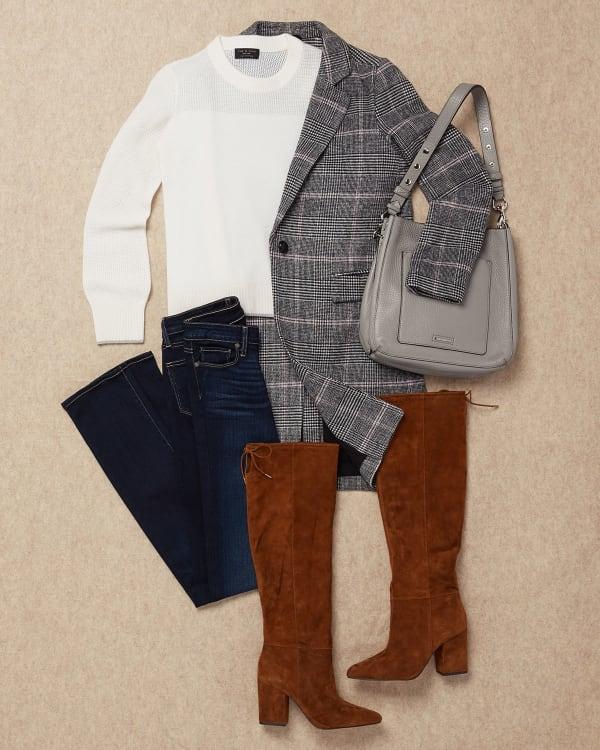 Denim with dressy sweater