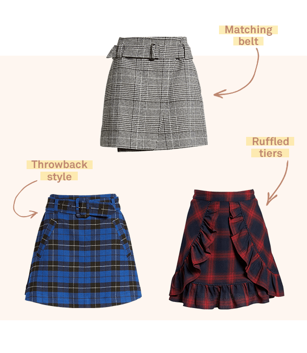 Three women's mini skirts.