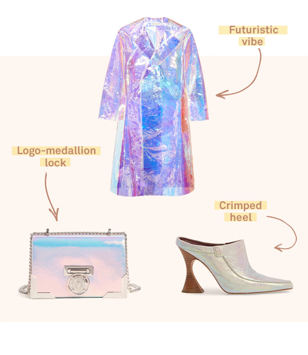 Three women's fashion items featuring haute holographs.