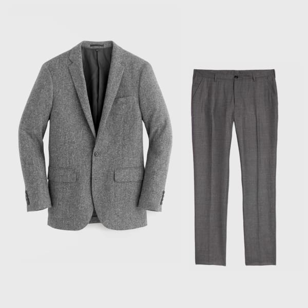 Tweed blazer and slacks.